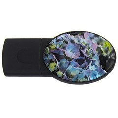 Blue And Purple Hydrangea Group 4gb Usb Flash Drive (oval) by bloomingvinedesign