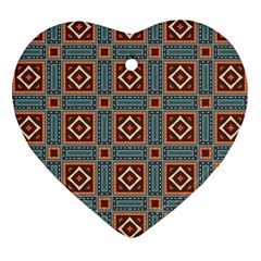 Squares Rectangles And Other Shapes Pattern Heart Ornament (two Sides) by LalyLauraFLM