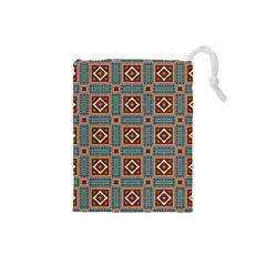Squares rectangles and other shapes pattern Drawstring Pouch (Small) by LalyLauraFLM