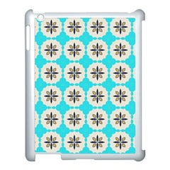 Floral pattern on a blue background Apple iPad 3/4 Case (White) by LalyLauraFLM