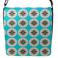 Floral Pattern On A Blue Background Flap Closure Messenger Bag (small) by LalyLauraFLM