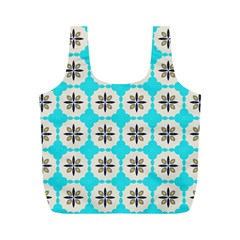 Floral Pattern On A Blue Background Full Print Recycle Bag (m) by LalyLauraFLM