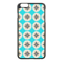 Floral Pattern On A Blue Background Apple Iphone 6 Plus Black Enamel Case by LalyLauraFLM
