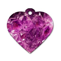 Amethyst Stone Of Healing Dog Tag Heart (two Sided) by FunWithFibro