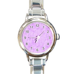 Hidden Pain In Purple Round Italian Charm Watch by FunWithFibro