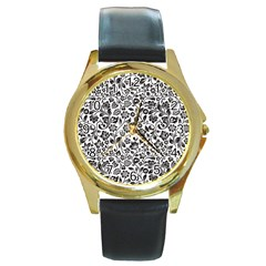 Elegant Glittery Floral Round Leather Watch (gold Rim)  by StuffOrSomething