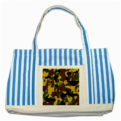 Camo Pattern  Blue Striped Tote Bag by Colorfulart23