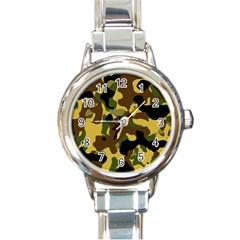 Camo Pattern  Round Italian Charm Watch by Colorfulart23