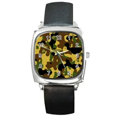 Camo Pattern  Square Leather Watch by Colorfulart23