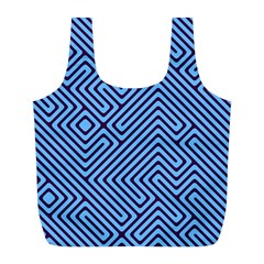 Blue Maze Full Print Recycle Bag (l) by LalyLauraFLM