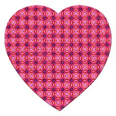 Abstract Pink Floral Tile Pattern Jigsaw Puzzle (heart) by creativemom