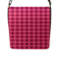 Abstract Pink Floral Tile Pattern Flap Closure Messenger Bag (large) by creativemom