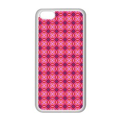 Abstract Pink Floral Tile Pattern Apple Iphone 5c Seamless Case (white) by creativemom