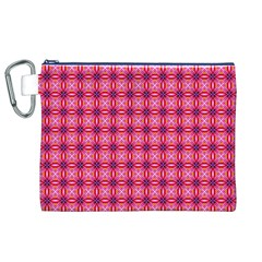 Abstract Pink Floral Tile Pattern Canvas Cosmetic Bag (xl) by creativemom