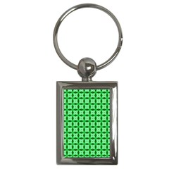 Green Abstract Tile Pattern Key Chain (rectangle) by creativemom