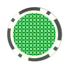 Green Abstract Tile Pattern Poker Chip (10 Pack) by creativemom