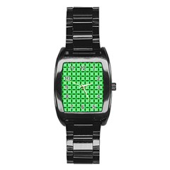 Green Abstract Tile Pattern Stainless Steel Barrel Watch by creativemom