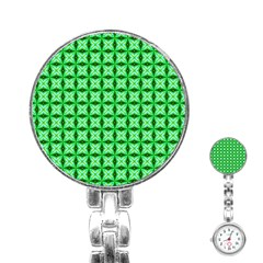 Green Abstract Tile Pattern Stainless Steel Nurses Watch by creativemom