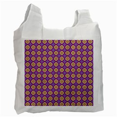Purple Decorative Quatrefoil White Reusable Bag (One Side) by creativemom