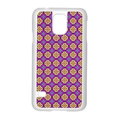 Purple Decorative Quatrefoil Samsung Galaxy S5 Case (white) by creativemom