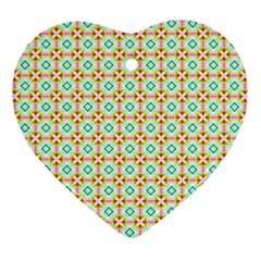 Aqua Mint Pattern Heart Ornament (two Sides) by creativemom