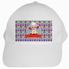 Cupcake with Cute Pig Chef White Baseball Cap by creativemom