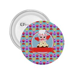 Cupcake With Cute Pig Chef 2 25  Button by creativemom