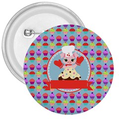 Cupcake With Cute Pig Chef 3  Button by creativemom