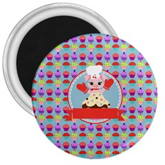 Cupcake With Cute Pig Chef 3  Button Magnet by creativemom