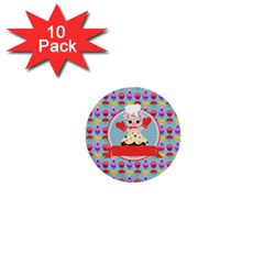 Cupcake With Cute Pig Chef 1  Mini Button (10 Pack) by creativemom
