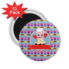 Cupcake With Cute Pig Chef 2 25  Button Magnet (10 Pack) by creativemom