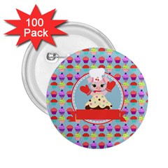 Cupcake With Cute Pig Chef 2 25  Button (100 Pack) by creativemom