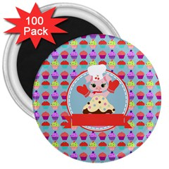 Cupcake With Cute Pig Chef 3  Button Magnet (100 Pack) by creativemom