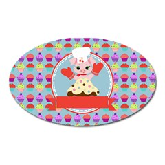 Cupcake With Cute Pig Chef Magnet (oval) by creativemom
