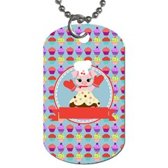 Cupcake With Cute Pig Chef Dog Tag (two Sided)  by creativemom