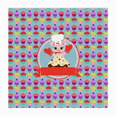 Cupcake With Cute Pig Chef Glasses Cloth (medium) by creativemom