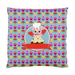 Cupcake With Cute Pig Chef Cushion Case (single Sided)  by creativemom