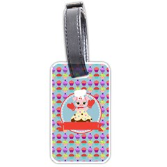 Cupcake With Cute Pig Chef Luggage Tag (one Side) by creativemom