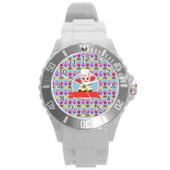 Cupcake With Cute Pig Chef Plastic Sport Watch (large) by creativemom