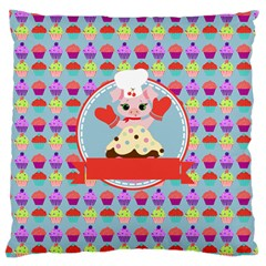 Cupcake With Cute Pig Chef Large Cushion Case (single Sided)  by creativemom