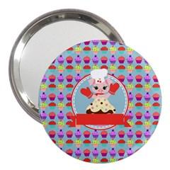 Cupcake With Cute Pig Chef 3  Handbag Mirror by creativemom