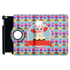 Cupcake With Cute Pig Chef Apple Ipad 3/4 Flip 360 Case by creativemom
