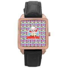 Cupcake With Cute Pig Chef Rose Gold Leather Watch  by creativemom