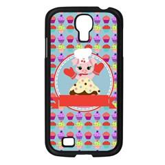 Cupcake With Cute Pig Chef Samsung Galaxy S4 I9500/ I9505 Case (black) by creativemom