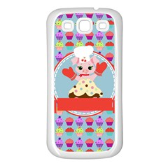 Cupcake With Cute Pig Chef Samsung Galaxy S3 Back Case (white) by creativemom