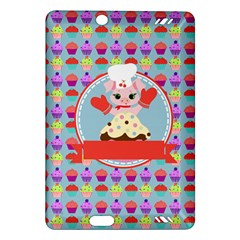 Cupcake with Cute Pig Chef Kindle Fire HD (2013) Hardshell Case