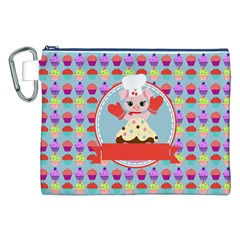 Cupcake With Cute Pig Chef Canvas Cosmetic Bag (xxl) by creativemom