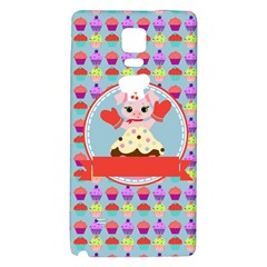 Cupcake With Cute Pig Chef Samsung Note 4 Hardshell Back Case by creativemom