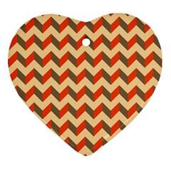 Modern Retro Chevron Patchwork Pattern  Heart Ornament by creativemom