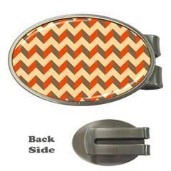 Modern Retro Chevron Patchwork Pattern  Money Clip (oval) by creativemom